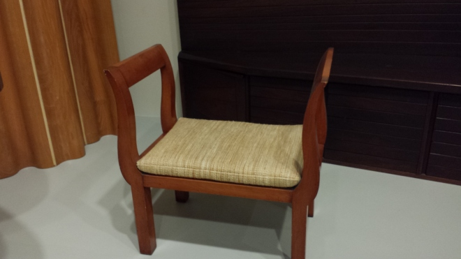 Wooden bench with cotton/rayon cushion